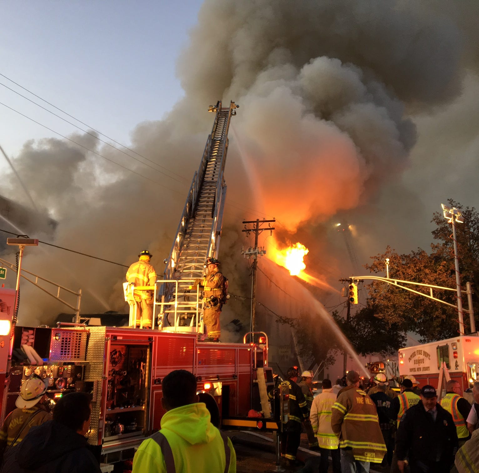 Building collapses in massive Dover fire; no injuries reported