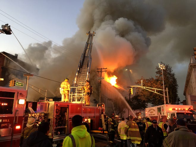 Firefighters respond to a massive blaze in Dover Oct. 22, 2018.