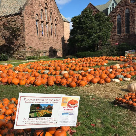 A sign at the Pumpkin Patch on the Lawn sale at St. Luke's Episcopal church in Montclair displays the cashless pay options. October 2018.
