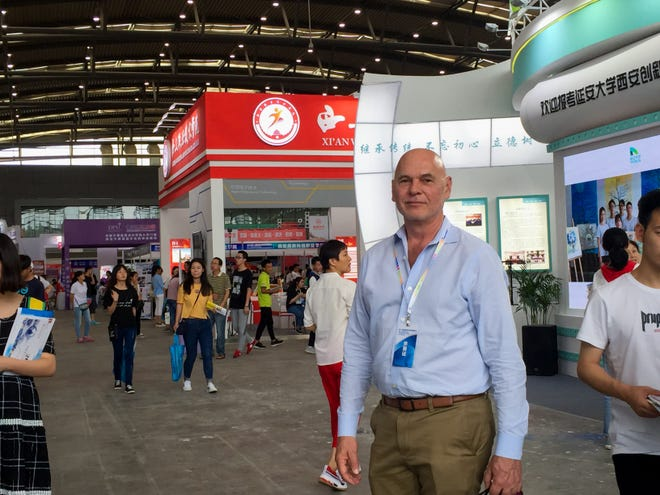 Rod McSherry, interim associate provost for International & Border Programs at New Mexico State University, at the 2018 Higher Education Fair in China in July 2018 for a student recruitment trip.