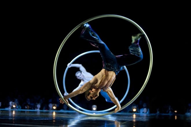 "A performer in ""Corteo,"" the latest and most enchanting Cirque du Soleil arena production, now touring North America."