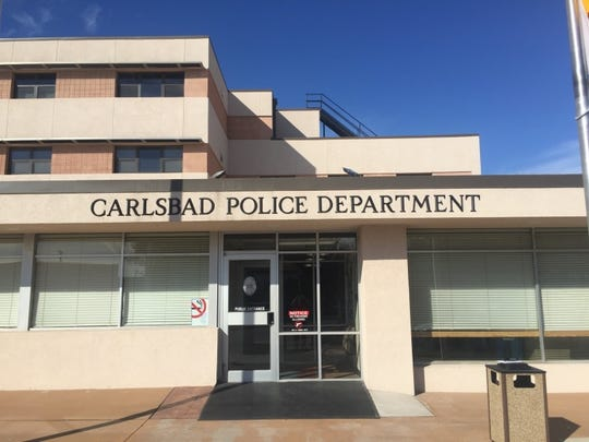 The entrance to the Carlsbad Police Department. Officers have a good benefits package according to Capt. Jennifer Moyers.