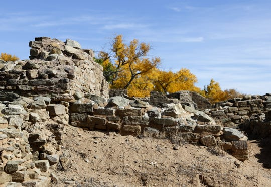 Aztec Ruins National Monument is seen on Monday as fall colors continue in Aztec. Today's weather may hold some rain and thunderstorms, but clearing weather by the weekend will bring back perfect walking and leaf-viewing weather.