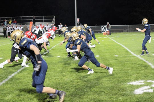 Warriors offense tries hard to fight back against the Portales Rams at home October 19.