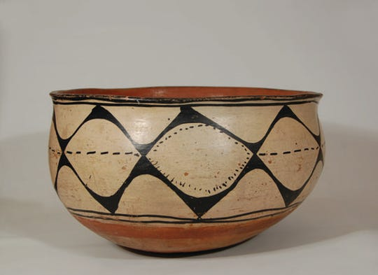 A dough bowl designed with in traditional Kewa Pueblo could have been passed down in the same family of potters for decades and comes  from Santo Domingo.