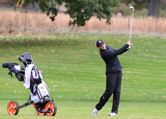 Northville's Nicole Whatley takes aim at Bedford Valley G.C. in Battle Creek.