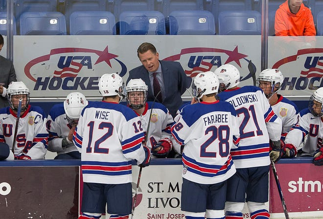 "U.S. NTDP head coach Seth Appert talks to players during a 2017-18 game. He saw first-hand how ""sensory friendly"" events work during his time as RPI college coach."
