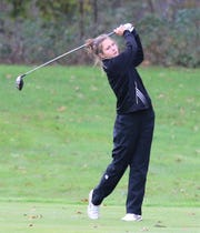 Northville's Sedona Shipka takes out her driver for the newly crowned MHSAA Division 1 champion.
