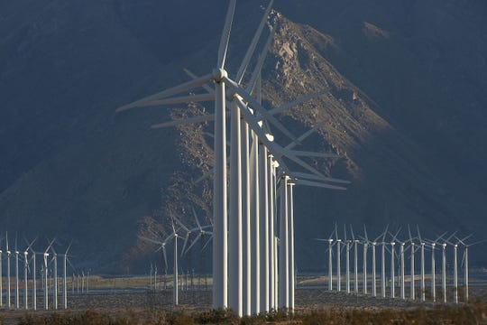 Large wind turbines in the San Gorgonio Pass outside Palm Springs in 2016.