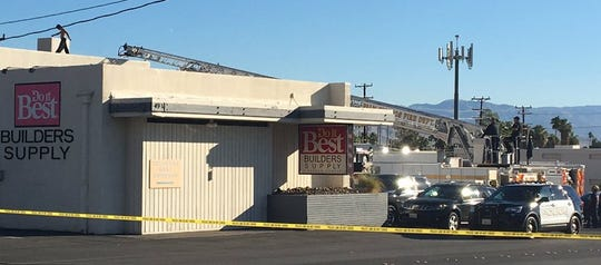 A shirtless man paces atop a business' roof Monday morning, Oct. 22, 2018, at Sunny Dunes Road and Industrial Place in Palm Springs. Sunny Dunes Road was closed due to the activity. It was unclear why the man went to the roof.