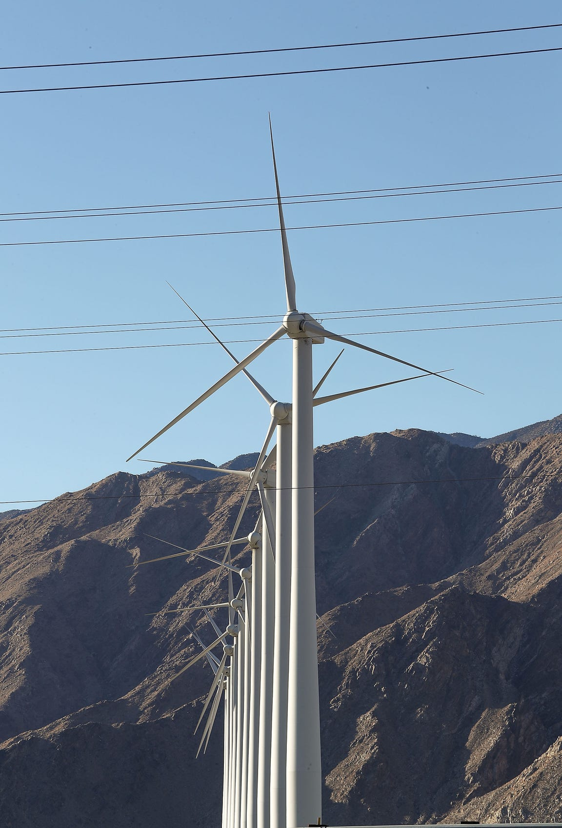 Large wind turbines in the San Gorgonio Pass, seen on Oct. 18, 2018.