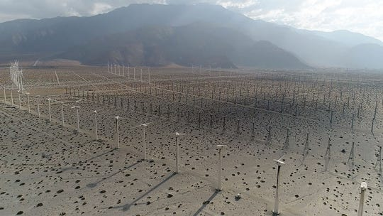 The wind turbines of the San Gorgonio Pass, seen from a drone on Sept. 9, 2017.