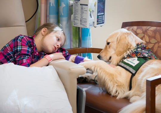Riley Goebel, 8, pets therapy dog Sprout while undergoing treatment at Sacred Heart Hospital in Pensacola on Monday, October 22, 2018.