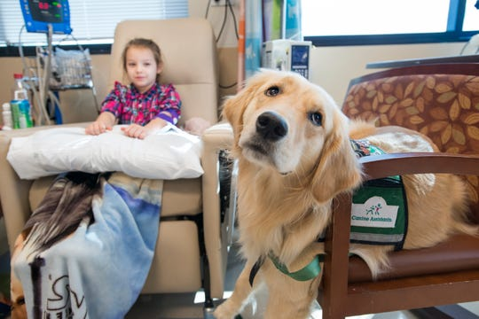 Riley Goebel, 8, keeps an eye on therapy dog Sprout who is chilling out while Riley undergoes treatment at Sacred Heart Hospital in Pensacola on Monday, October 22, 2018.