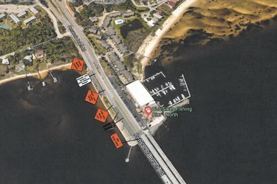 Beginning Tuesday, Oct. 23 at 8 p.m., Pensacola Beach Road between Soundview Trail and the Bob Sikes Bridge will merge into one lane of traffic. The closure is expected to last until Wednesday, Oct. 24 at 5 a.m.
