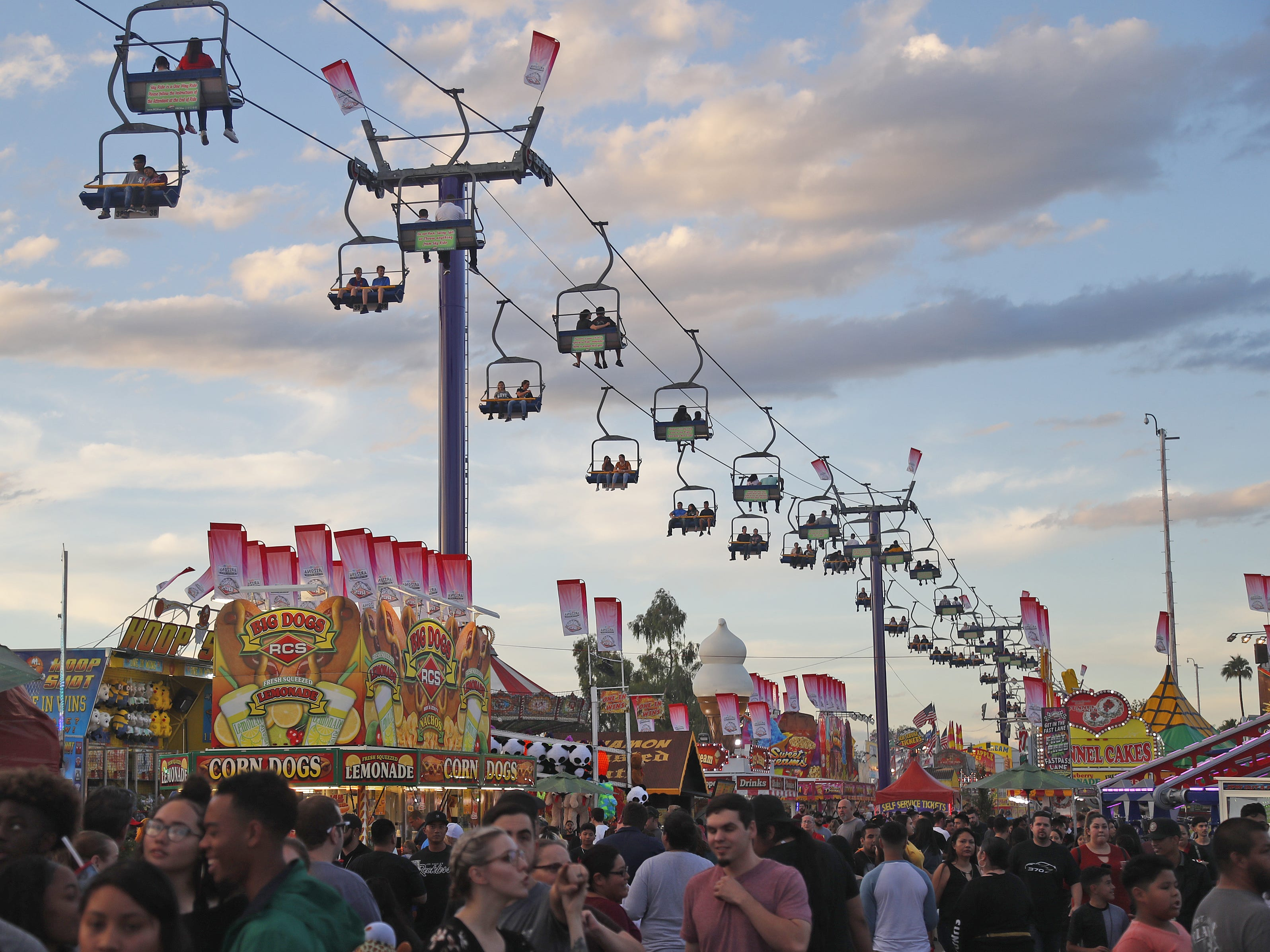 The sky ride makes its way over the top at the Arizona State Fair in Phoenix, Ariz. on October 21, 2018.