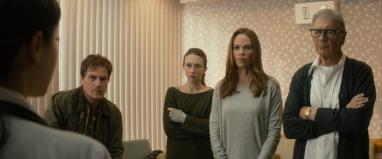 "(L-R) Michael Shannon stars as Nick, Taissa Farmiga as Emma, Hilary Swank as Bridget and Robert Forster as Bert in ""What They Had."""