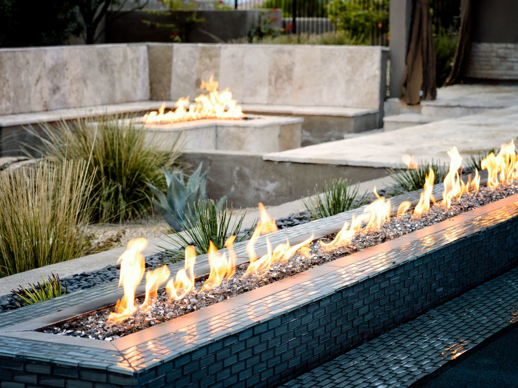 A modern, linear fire feature.