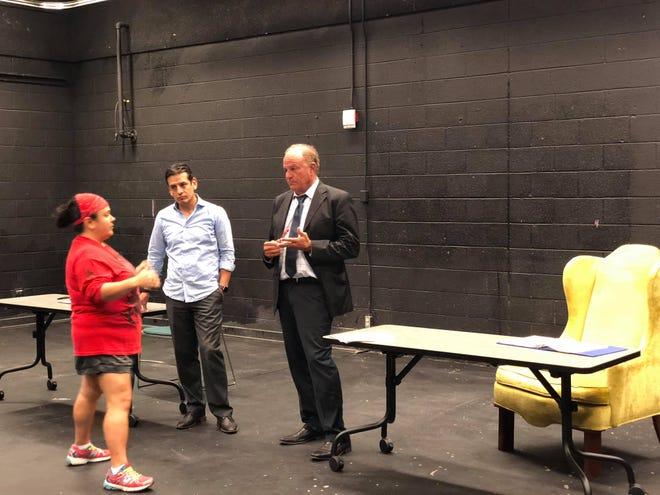 "Grant Woods (right), Marcelino Quinonez and director Christina Marin in rehearsal for ""Dear Senator."""