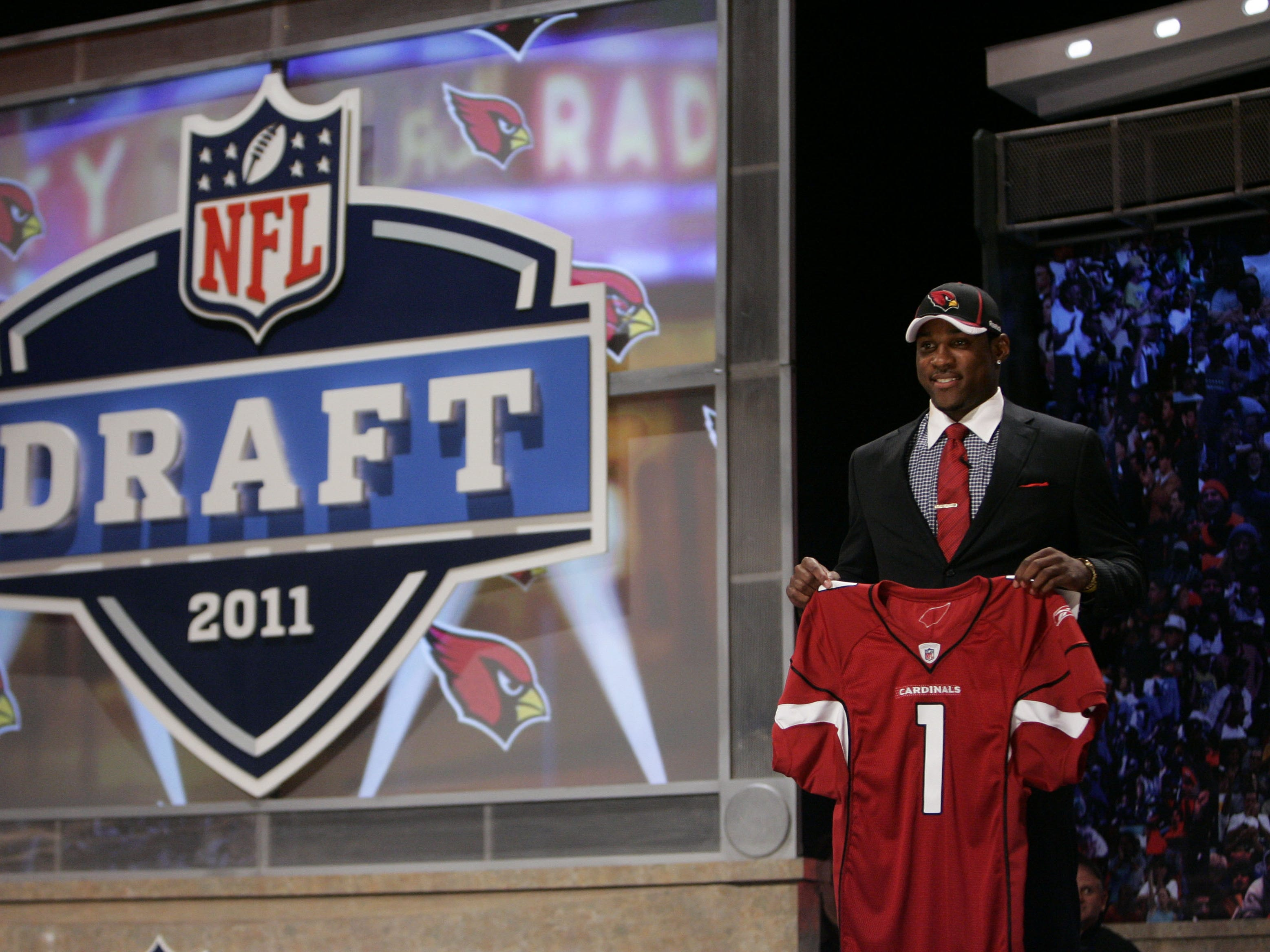 Apr 28, 2011; New York, NY, USA; Patrick Peterson (LSU) is introduced as the number five overall pick to the Arizona Cardinals in the 2011 NFL Draft at Radio City Music Hall. Mandatory Credit: Jerry Lai-US PRESSWIRE