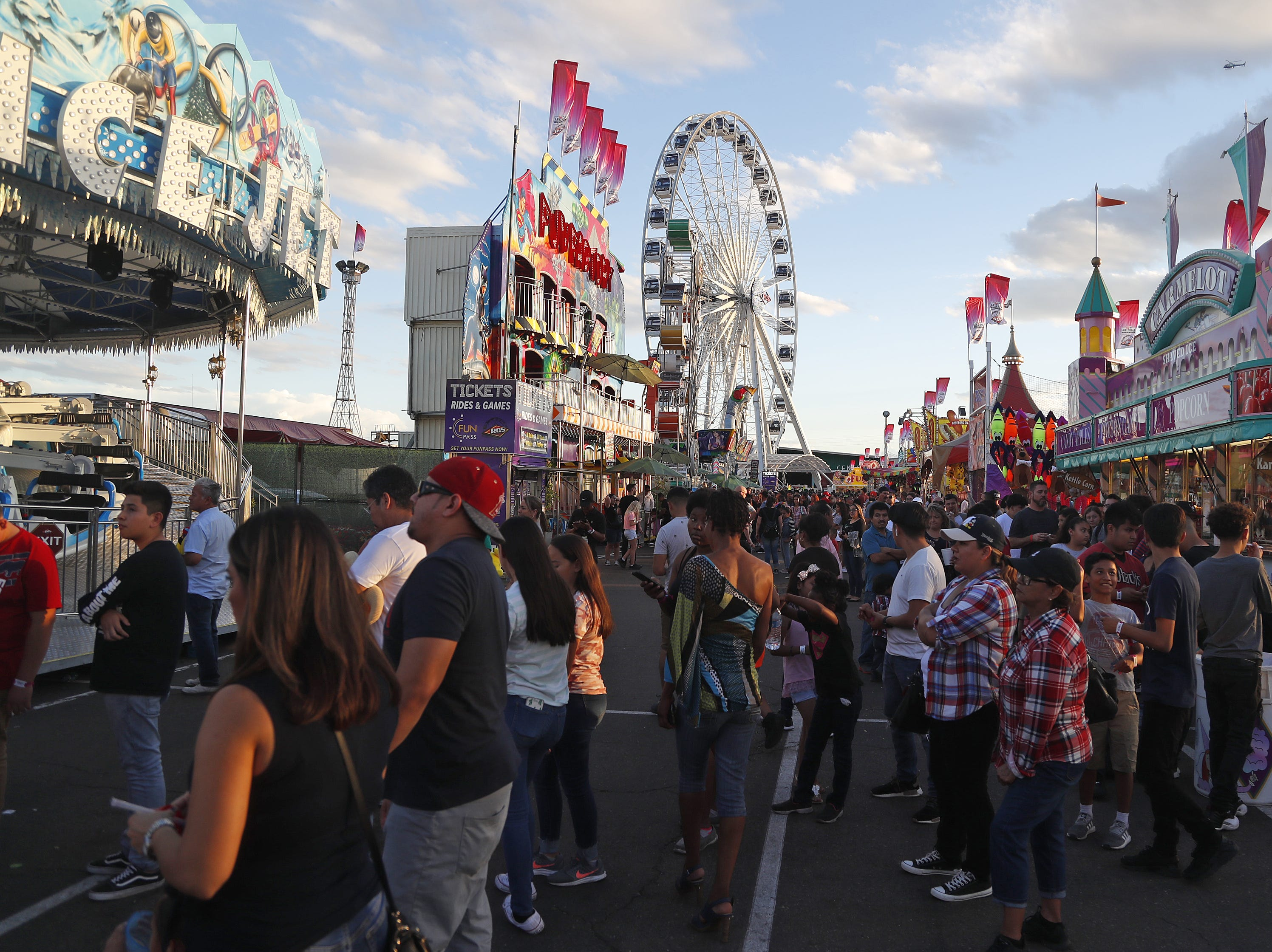 Lines back the the Arizona State Fair on a Sunday evening in Phoenix, Ariz. on October 21, 2018.