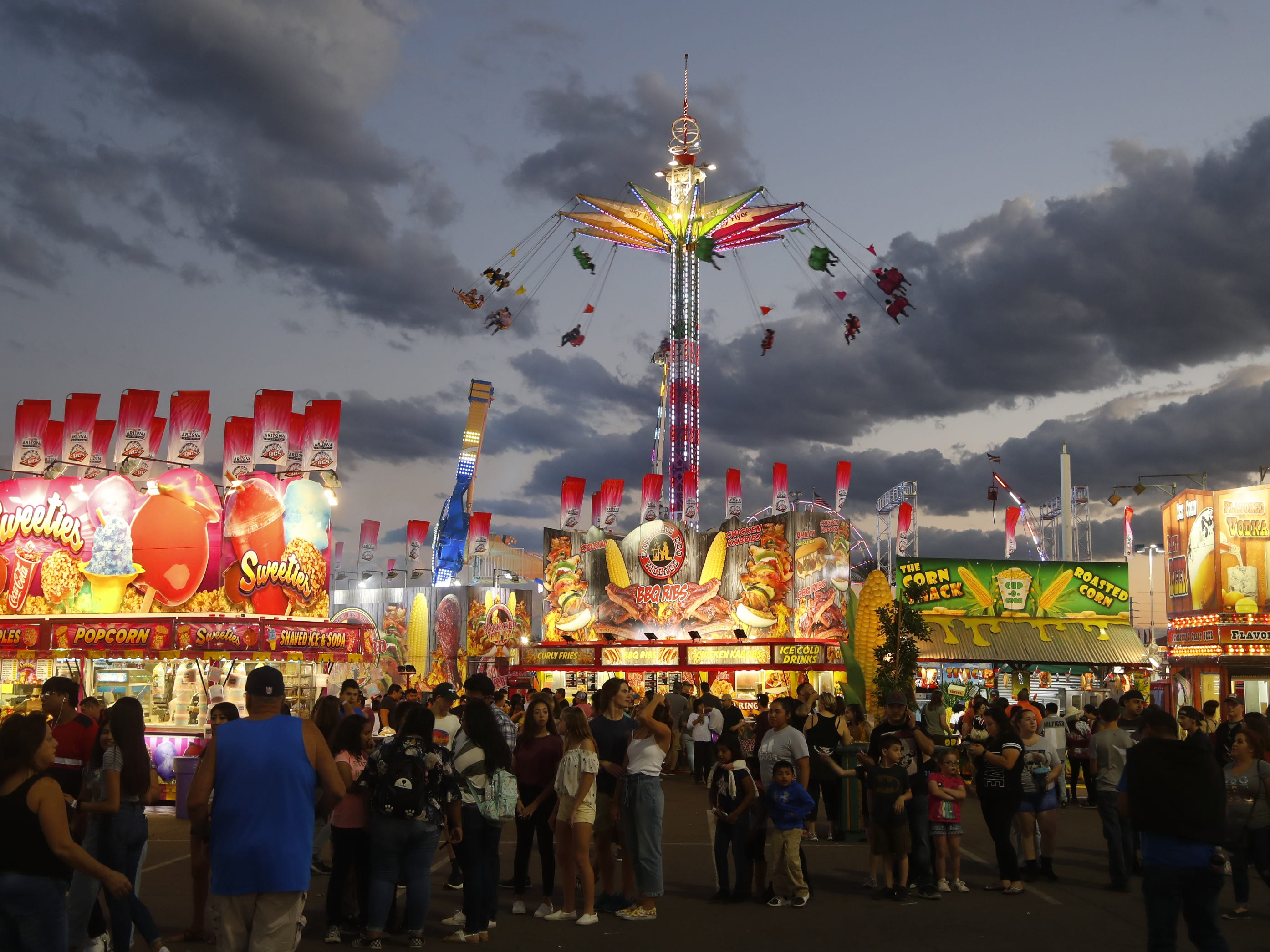 Rides and lights catches the eye at the Arizona State Fair in Phoenix, Ariz. on October 21, 2018.
