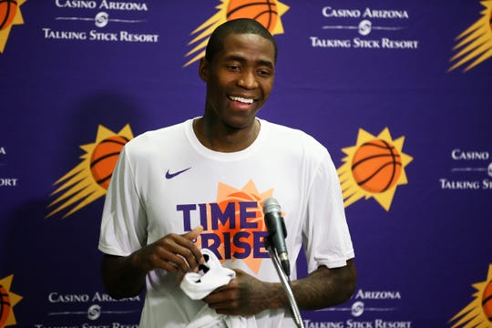 New Suns guard Jamal Crawford holds a press conference before the season opener at Talking Stick Resort Arena on Oct. 17, 2018, in Phoenix, Ariz.