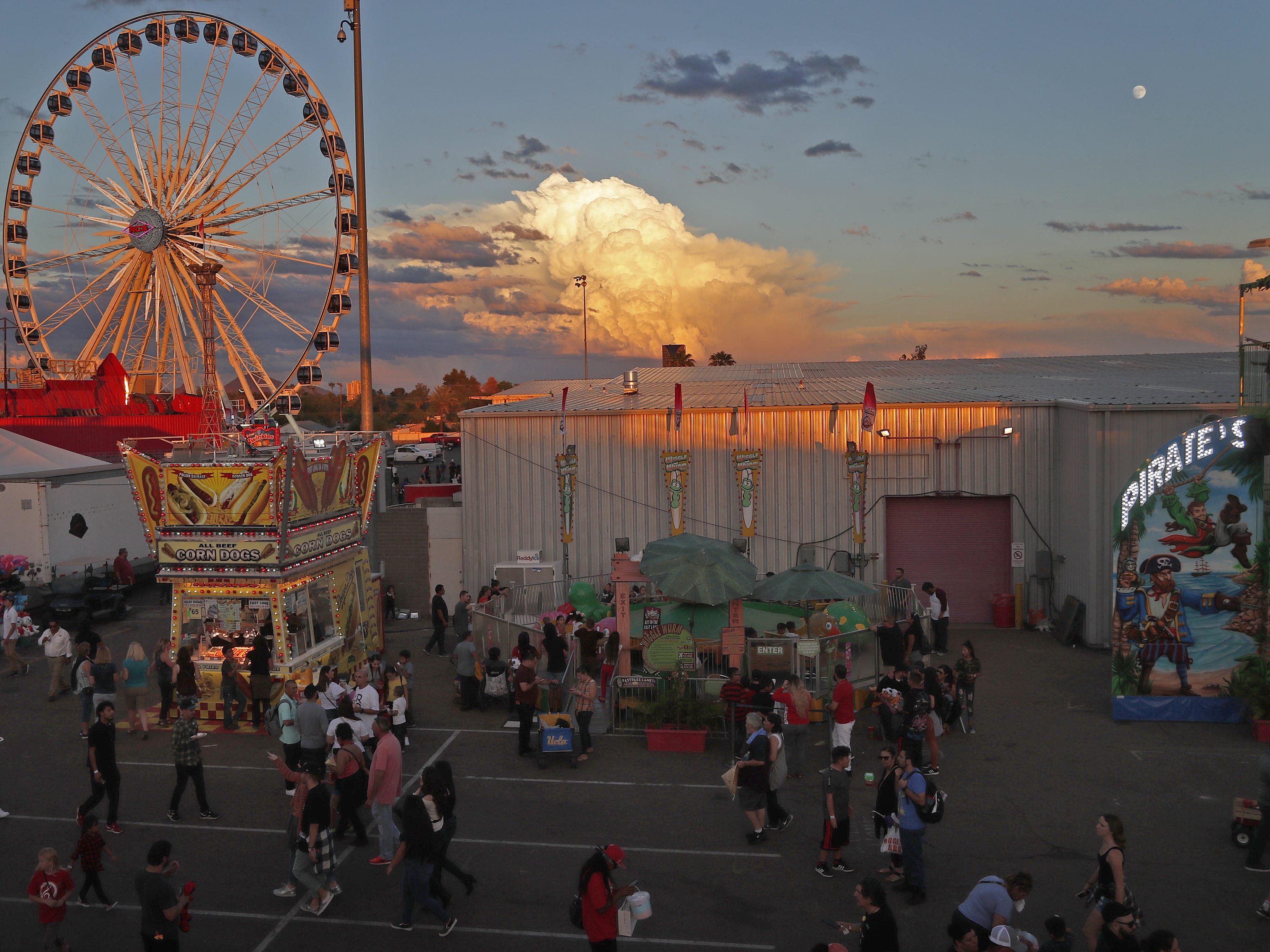 The sun sets at the Arizona State Fair in Phoenix, Ariz. on October 21, 2018.