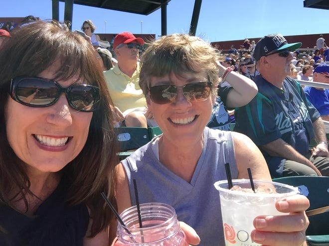 With my cousin Theresa at a spring training game in Mesa.
