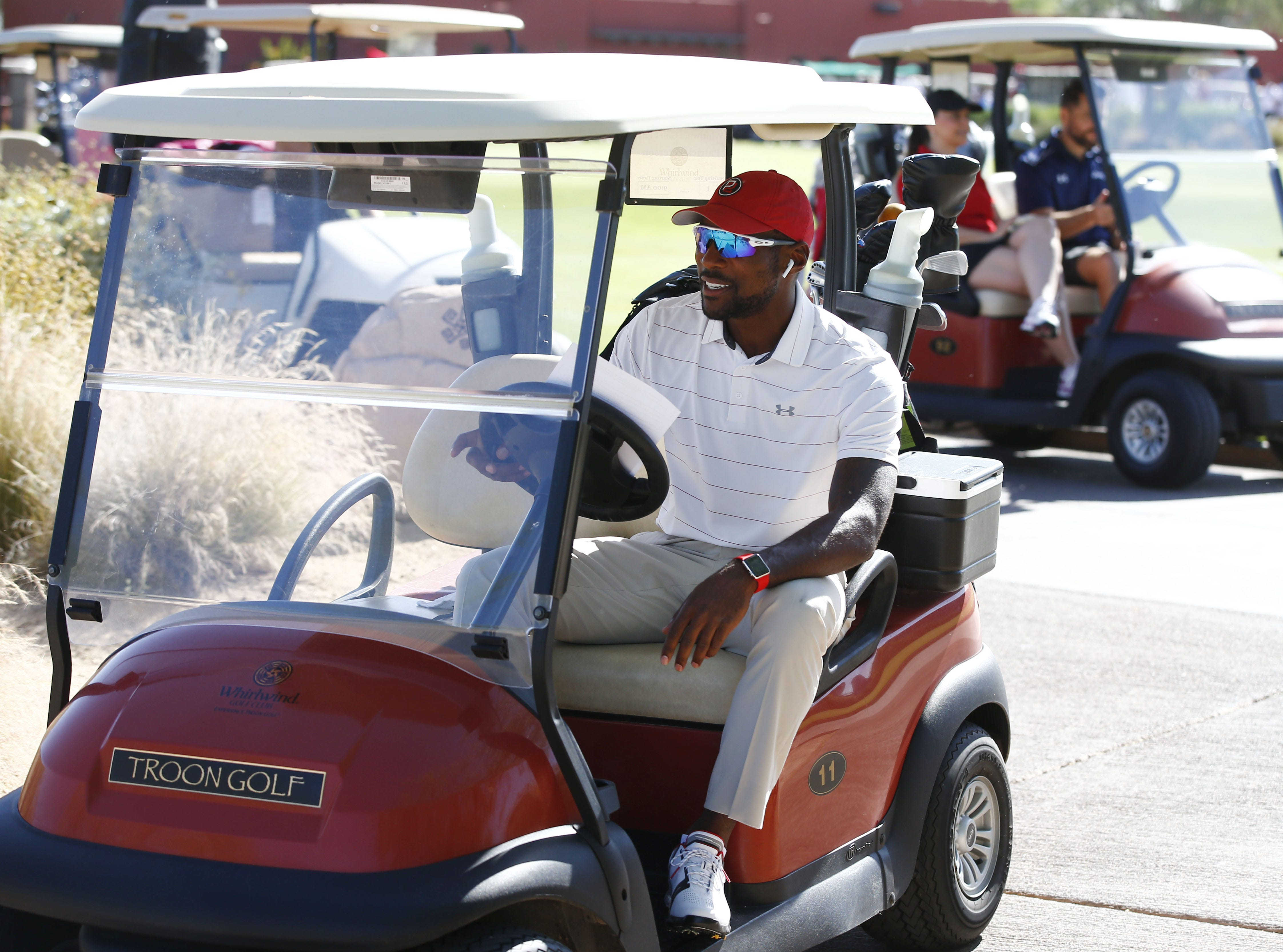 Arizona Cardinals cornerback Patrick Peterson drives to the 1st tee box during the 28th annual Celebrity Golf Classic presented by Cardinals Charities on Wednesday, April 19, 2017 at Whirlwind Golf Club at Wild Horse Pass in Chandler, Ariz.