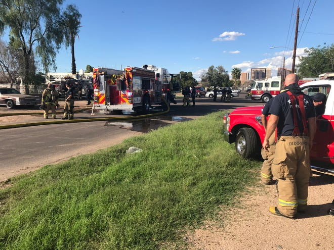 The Phoenix Fire  Department was at the scene of a house fire in which a man died Monday afternoon.