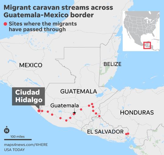 Lugares por donde ha pasado la Caravana Migrante