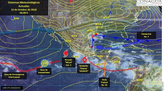 De acuerdo con el Servicio Metereológico Nacional (SMN), precipitaciones muy fuertes se pronostican en Jalisco, Colima, Michoacán, Guerrero, Oaxaca, Chiapas, Tamaulipas, Veracruz y Puebla.