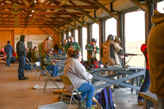 Competitors on Petrarca Range are shielded from the elements by an overhead covering.