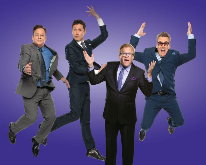 """From left, Joel Murray, Jeff B. Davis, Drew Carey and Greg Proops from """"Whose Live Anyway?"""""""