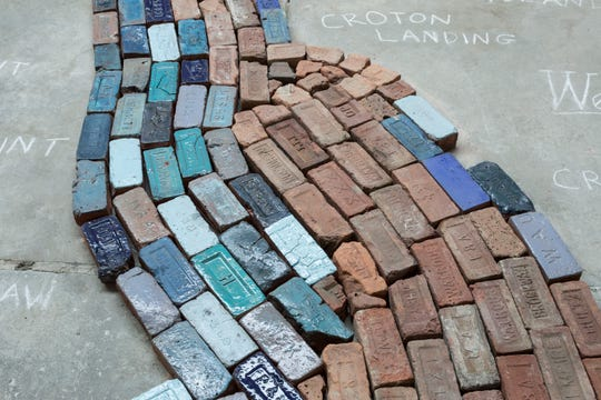 "Detail of  ""Hudson River of Bricks"" installation by Poughkeepsie artist Julia Whitney Barnes."