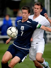 West York's Jake Altimore, front, seen here in a file photo, scored the game-winning goal for West York in double overtime on Tuesday in a 2-1 win over Biglerville.