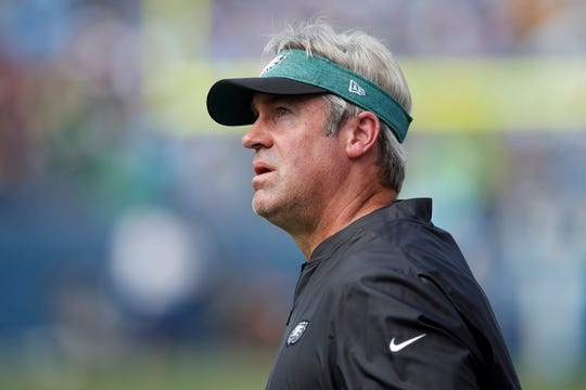 Philadelphia Eagles head coach Doug Pederson watches his team lose to the Tennessee Titans on Sunday, Sept. 30, in Nashville. (Jeff Haynes/AP Images for Panini)