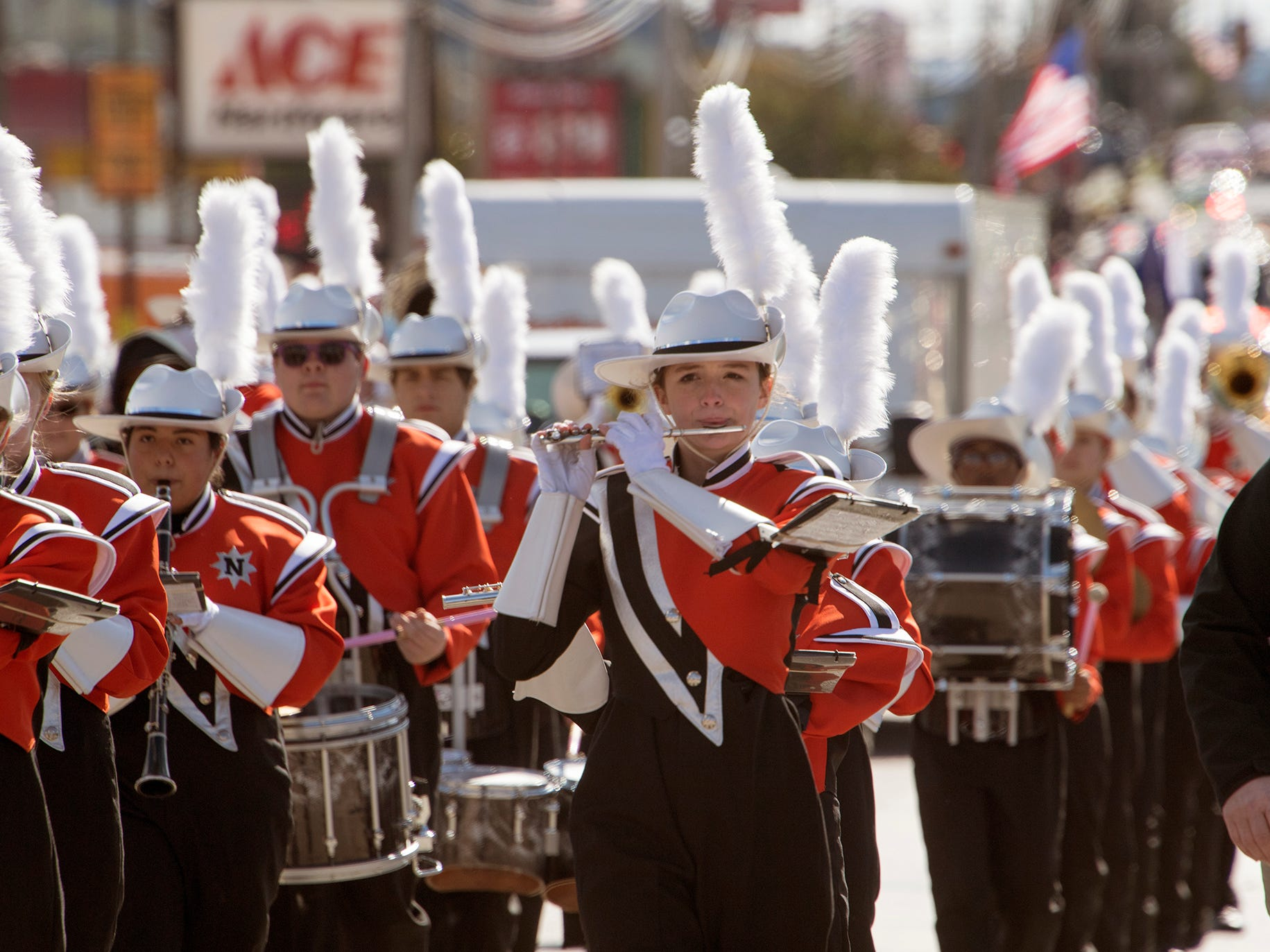 The Northeastern High School Marching Band passes through Manchester during the 53rd Annual Manchester/Mt. Wolf Halloween Parade.
