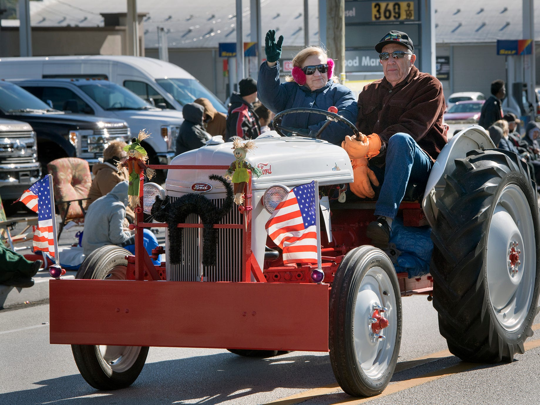An old Ford tractor promotes Olde Tyme Days during the 53rd Annual Manchester/Mt. Wolf Halloween Parade.