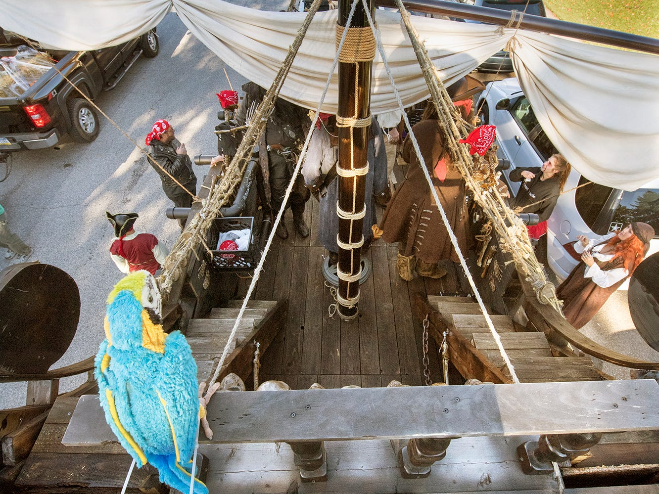 A parrot was perched on the top deck of the Rosbrook pirate ship during the 53rd Annual Manchester/Mt. Wolf Halloween Parade.