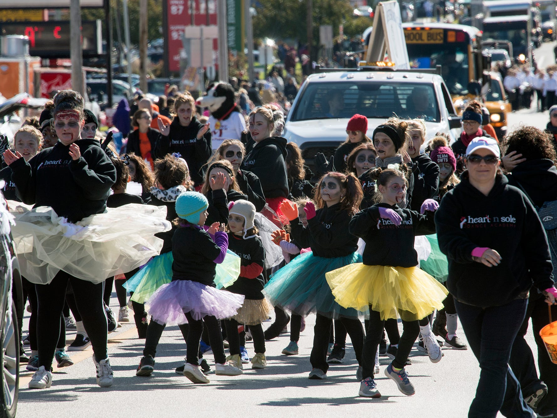 Heart n Sole Dance Academy walks north on Main Street in Manchester during the 53rd Annual Manchester/Mt. Wolf Halloween Parade.