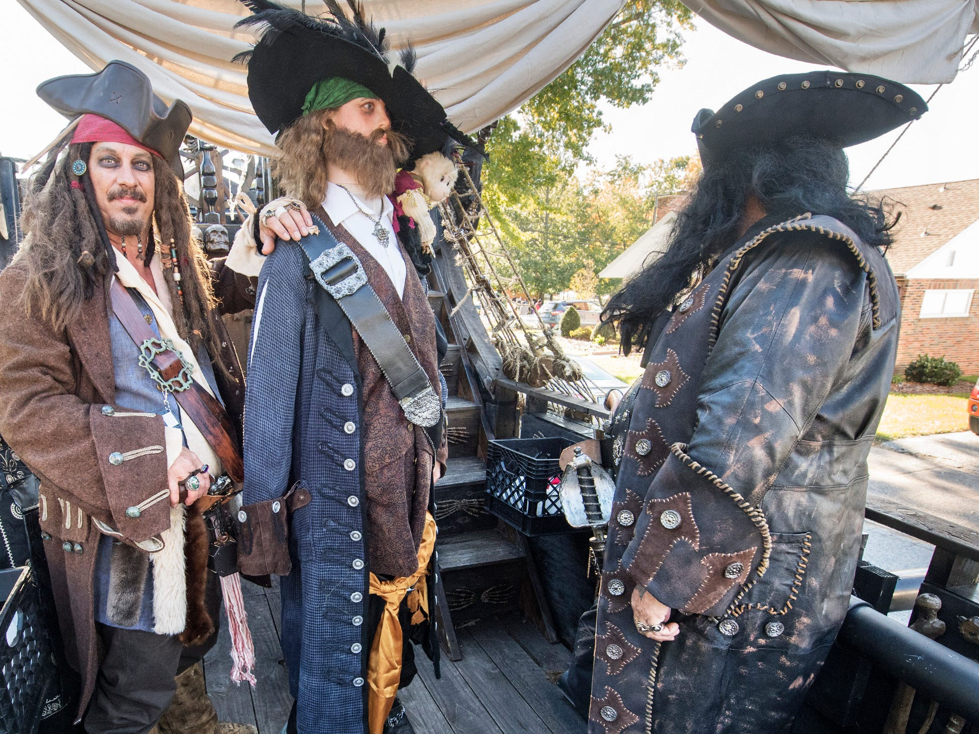 A.J. Rosbrook, left, on the deck of the pirate ship during the 53rd Annual Manchester/Mt. Wolf Halloween Parade.