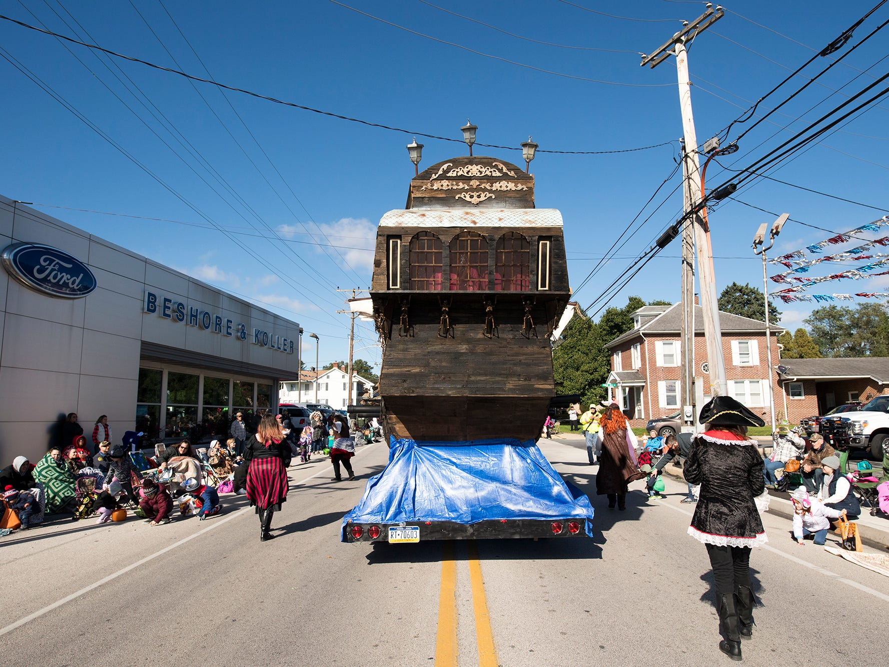 The back of A.J. Rosbrook's pirate ship is seen as it heads north on Main Street in Manchester during the 53rd Annual Manchester/Mt. Wolf Halloween Parade Sunday.