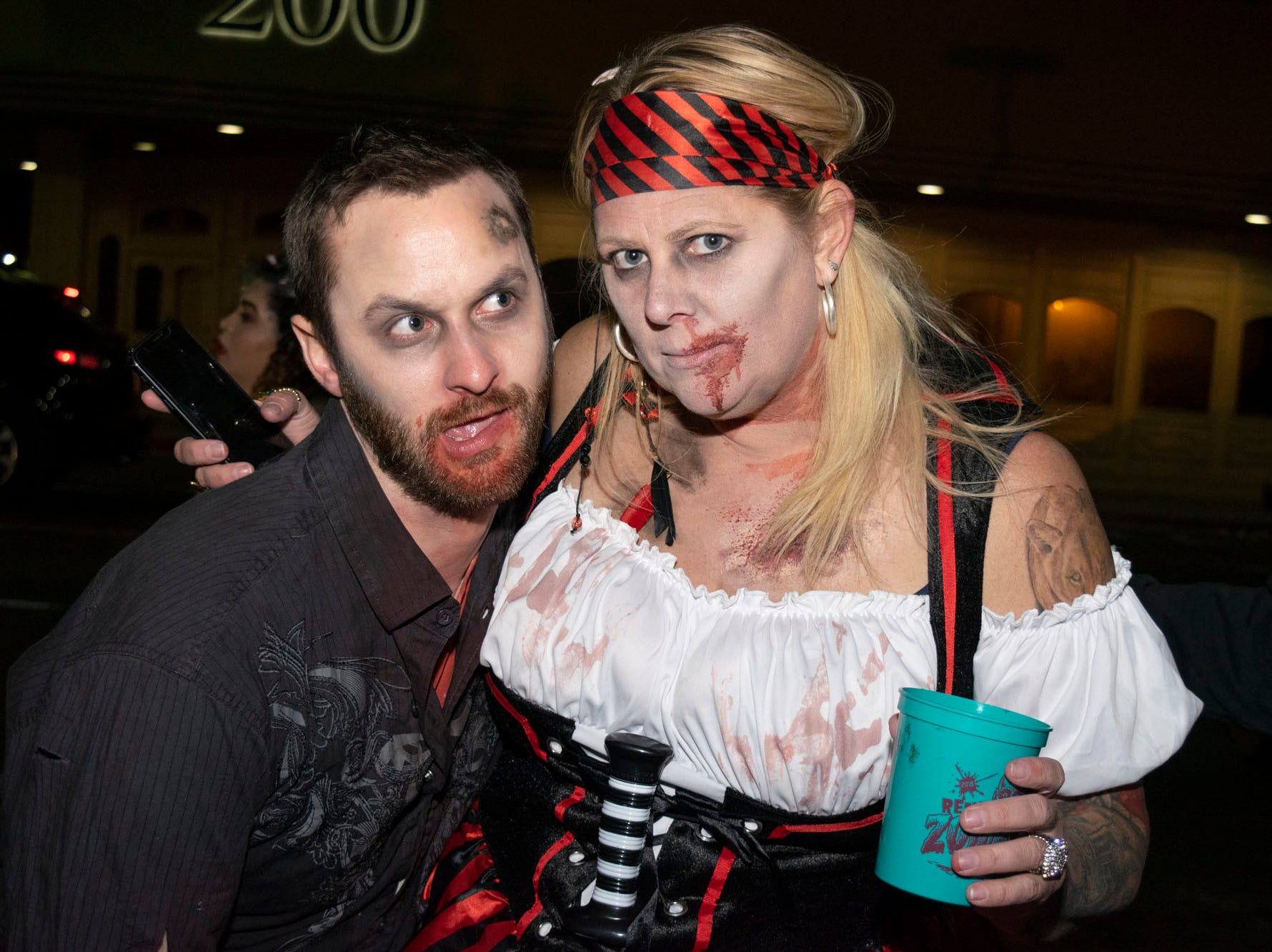 Robert Kimkley and Sandy Degiovanni attend the Zombie Crawl on Saturday, Oct. 20, 2018. Reno, Nev.