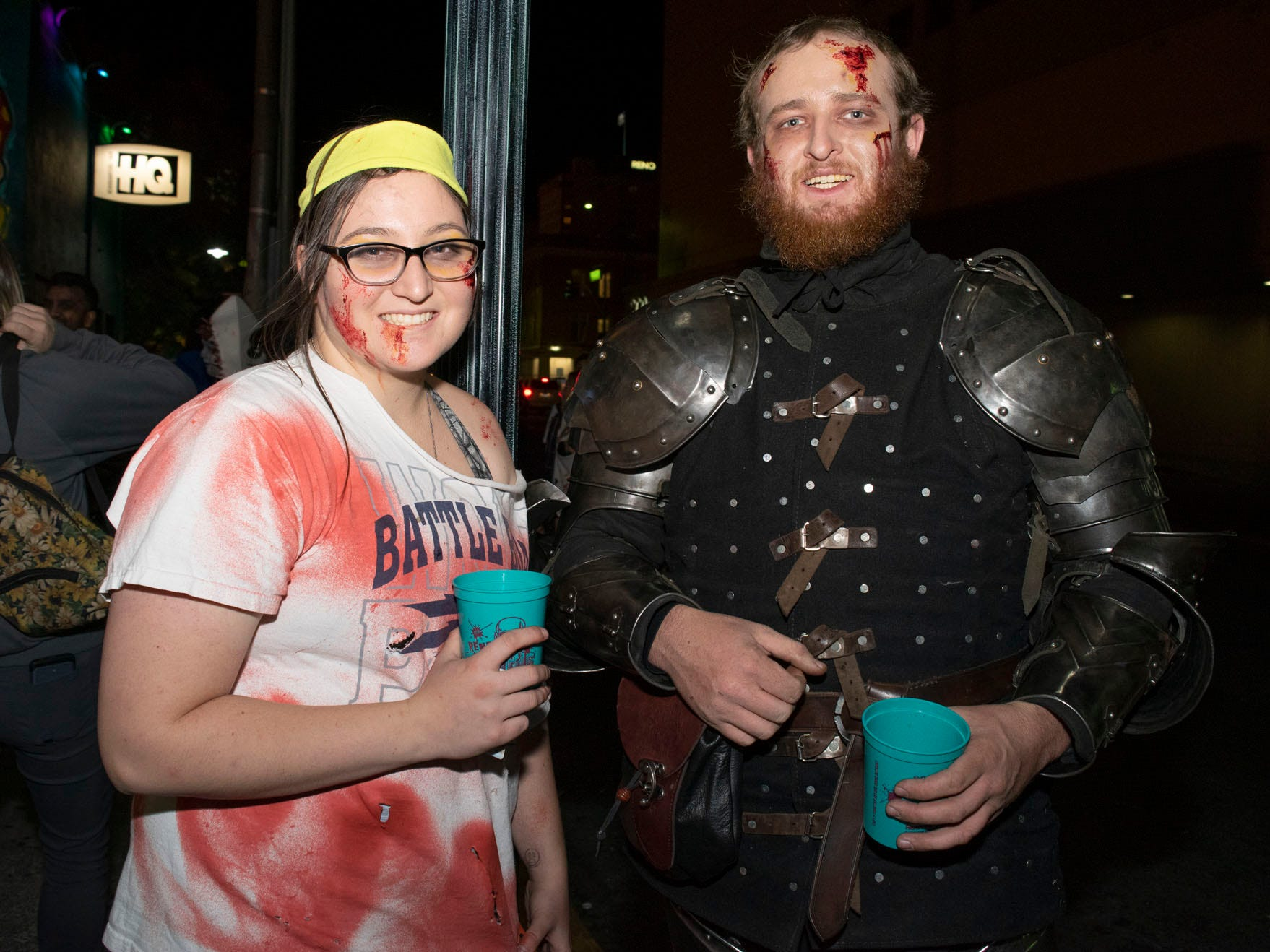 Shannon Myers and Nathaniel Fox attend the Zombie Crawl on Saturday, Oct. 20, 2018. Reno, Nev.