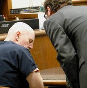 Matthew Schmidt listens to defense attorney Joe Tully following his Monday sentencing in Shasta County Superior Court.