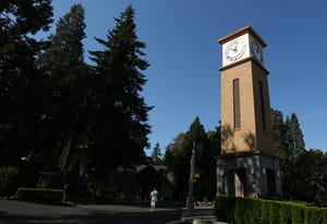 Corban University's clocktower.