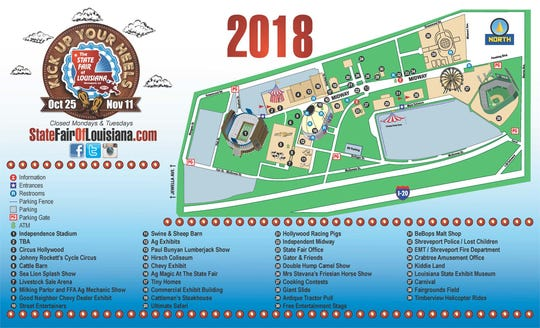 A map for the 2018 State Fair of Louisiana, open Oct. 25-Nov. 11.