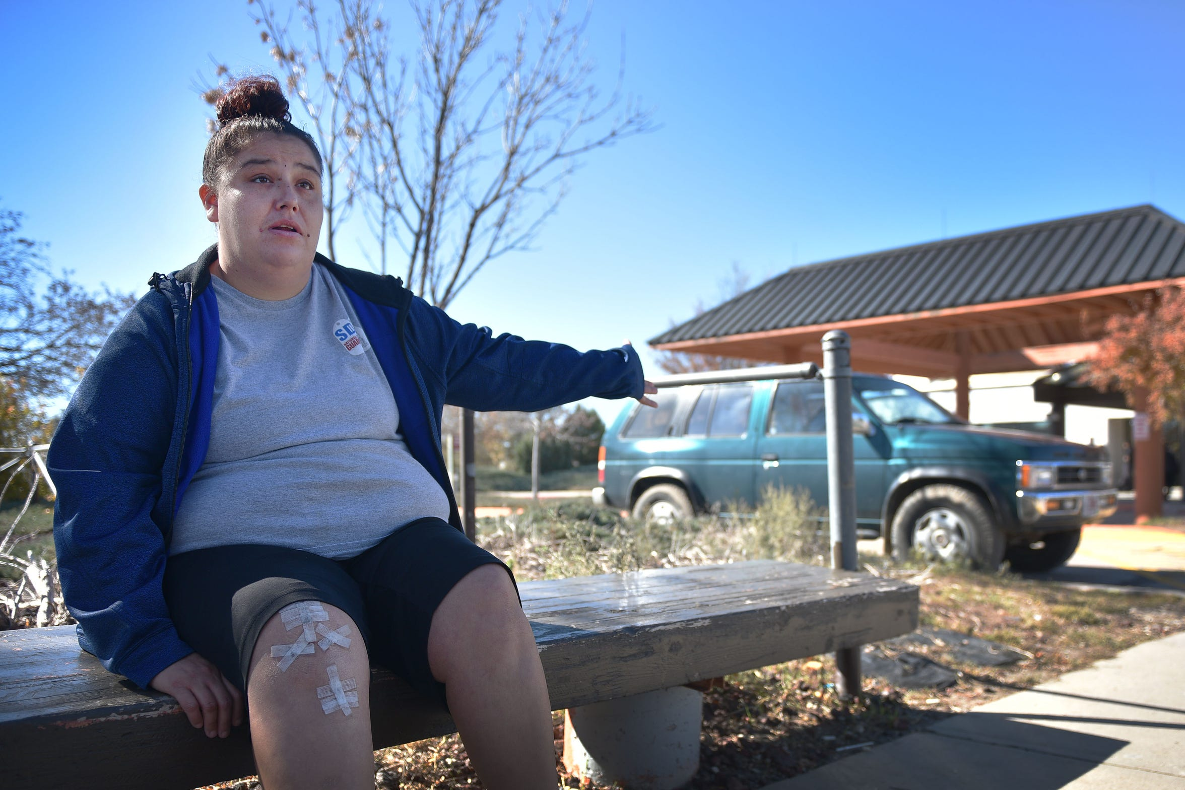 Nicol Burow, 30, talks about her experience with the Rosebud Indian Health Service hospital, Oct. 17, in Rosebud. Burow said she went to the hospital after she fell and hurt her knee.  After a misdiagnosis, she returned a month later and was told she needed surgery.
